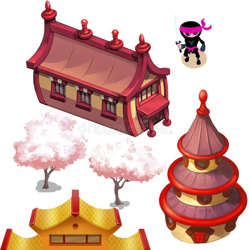 Asiatische Häuser (japanisches oder chinesisches Dorf) stockfotos