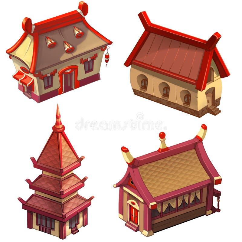 Asiatische Häuser (japanisches oder chinesisches Dorf) lizenzfreies stockbild