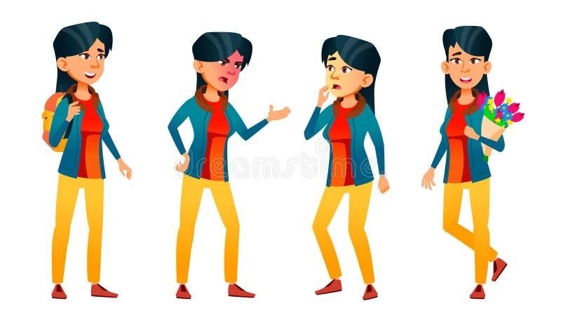 Asiatische jugendlich Mädchen-Haltungen eingestellter Vektor Gesicht Kinder Für Netz Broschüre, Plakat-Design Lokalisierte Karika vektor abbildung