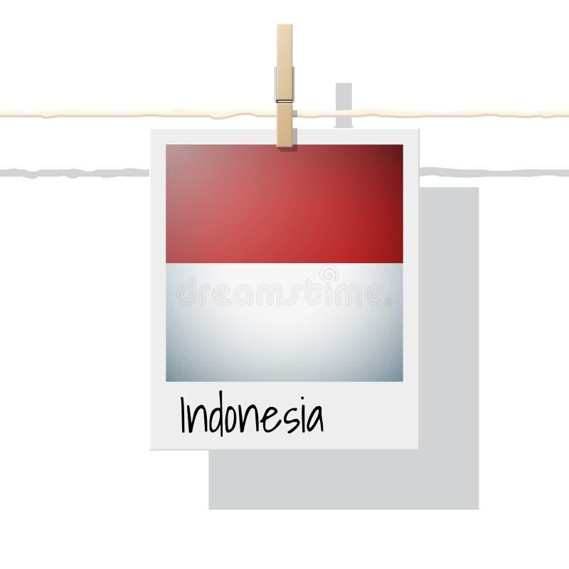 Asiatische Landesflaggesammlung mit Foto von Indonesien-Flagge auf weißem Hintergrund vektor abbildung