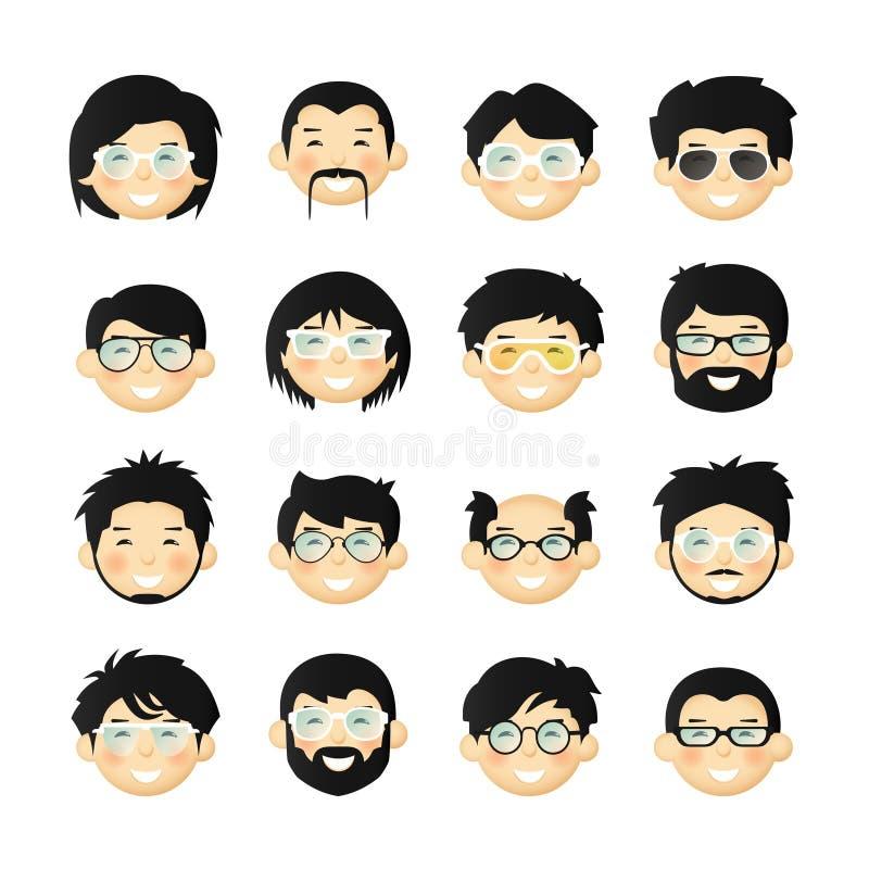 Asiatische Männer gehen Avatara iconset mit Bärten, den Schnurrbärten, den Gläsern und den rosigen Backen voran lizenzfreie abbildung