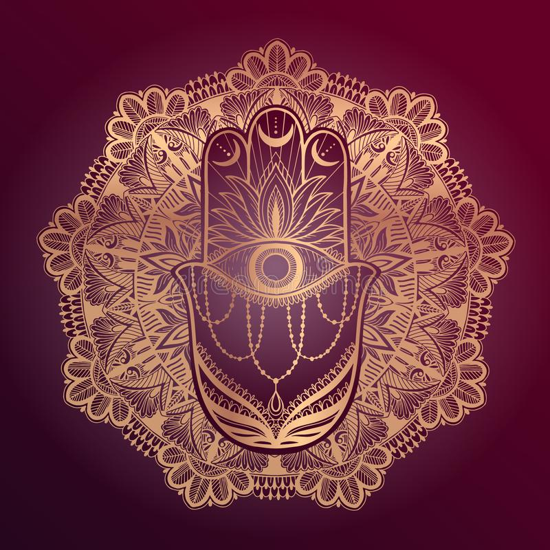 Asiatische Mandala magischer Talisman hamsa Religion Goldfarbgraphik im roten Hintergrund   lizenzfreie abbildung
