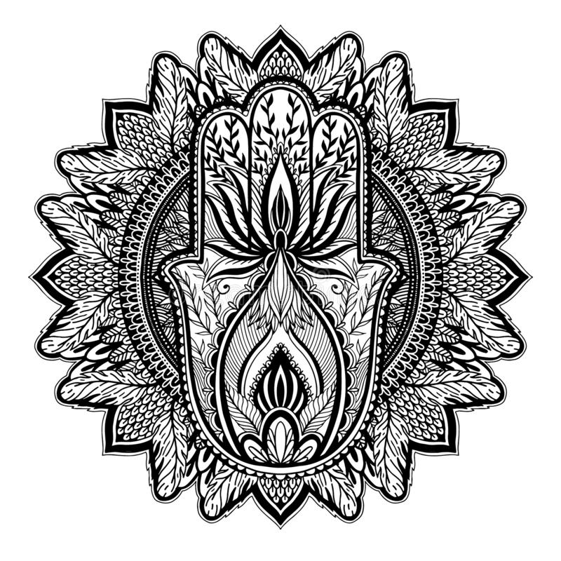 Asiatische Mandala magischer Talisman hamsa Religion r   vektor abbildung