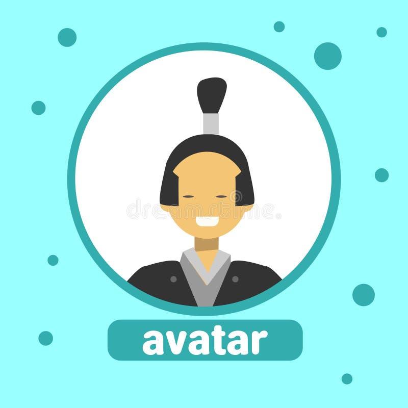 Asiatische Mann-Avatara-Ikonen-koreanischer Mann im traditionellen Kostüm-Profil-Porträt lizenzfreie abbildung