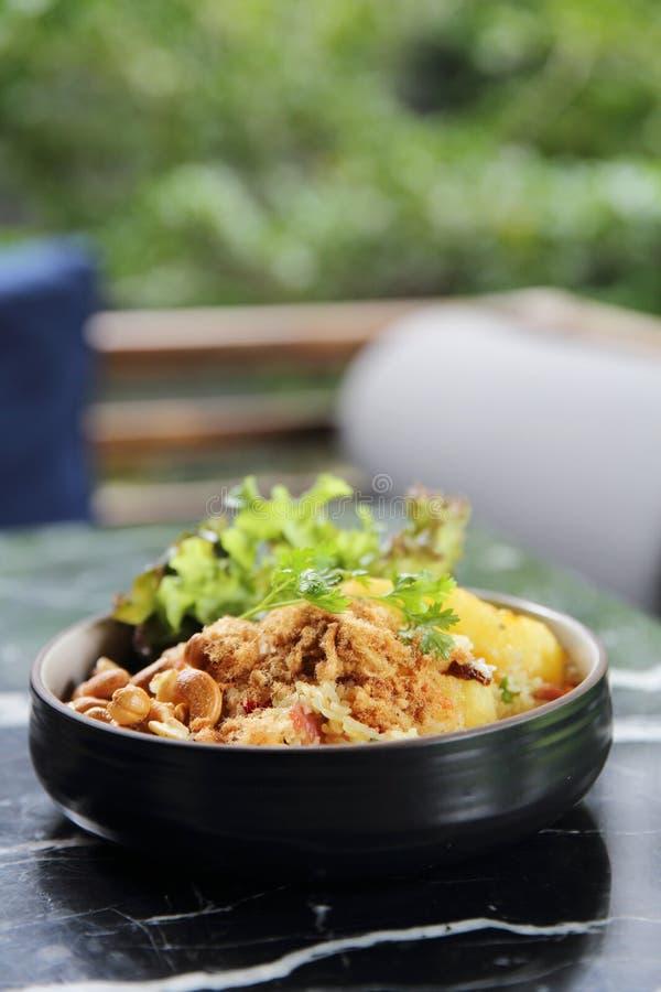 Asiatische Nahrung des gebratenen Reises der Ananas lizenzfreies stockbild