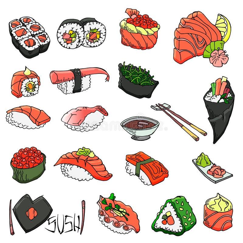 Asiatische Nahrungsmittelsammlung Sushi Laptop- und Blinkenleuchte Vektorhand gezeichnete Abbildung Lokalisierte Gegenst?nde f?r  stock abbildung
