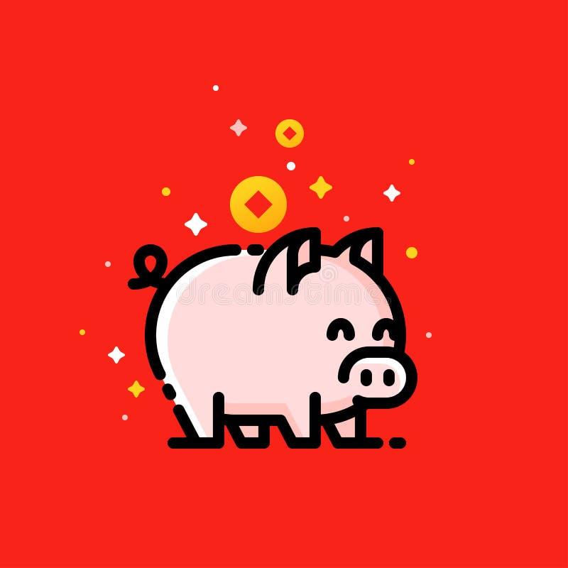 Asiatische Reichtum Münzen und Schwein als Symbol von 2019 Chinesischem Neujahrsfest lizenzfreie abbildung