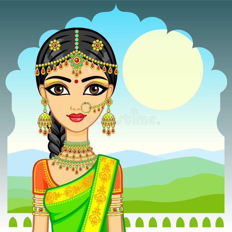Asiatische Schönheit Animationsporträt des jungen indischen Mädchens in der traditionellen Kleidung Märchen-Prinzessin stock abbildung