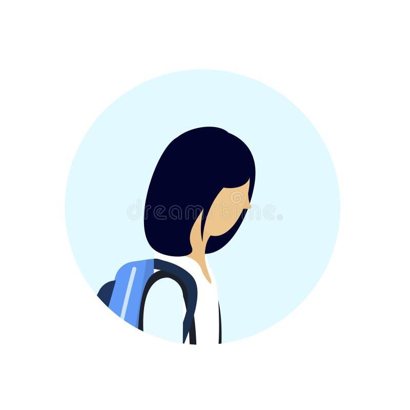 Asiatische Schulmädchenprofil-Avataraikone lokalisierte weibliche Zeichentrickfilm-Figur-Porträtebene lizenzfreie abbildung