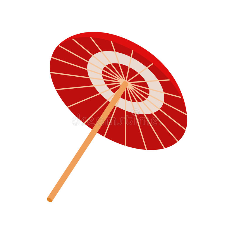 Asiatische Sonnenschirm- oder Regenschirmikone, isometrische Art 3d lizenzfreie abbildung