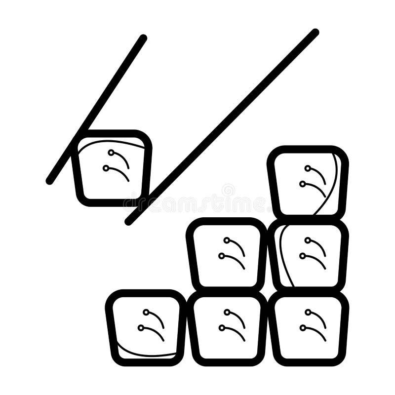 Asiatische Straßen-Schnellimbiss-Stange oder Shop, Sushi, Maki, Onigiri Salmon Roll mit Essstäbchen stock abbildung