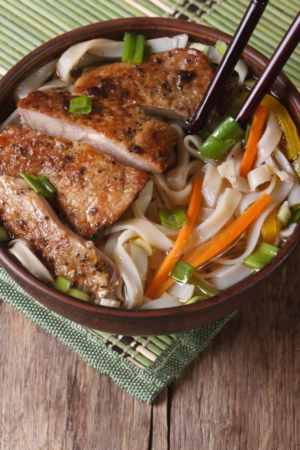 Asiatische Suppe mit Enten- und Reisnudel und Essstäbchen Beschneidungspfad eingeschlossen lizenzfreie stockfotografie