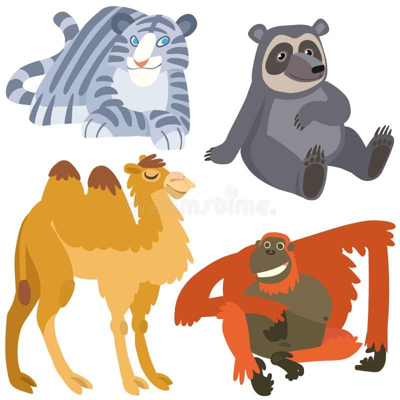 Asiatische Tiere der Karikatur eingestellt stock abbildung
