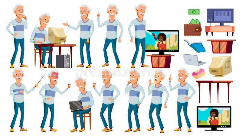 Asiatischer alter Mann wirft gesetzten Vektor auf Graues Haar Ältere Menschen Ältere Person gealtert Positiver Pensionär Netz, Br vektor abbildung