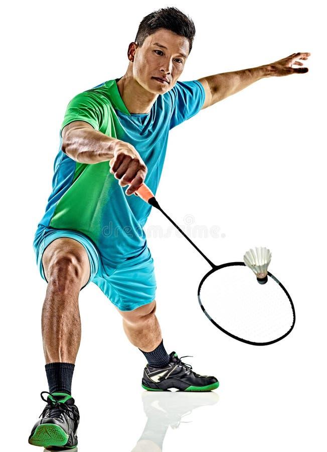Asiatischer Badmintonspielermann lokalisiert lizenzfreie stockfotografie