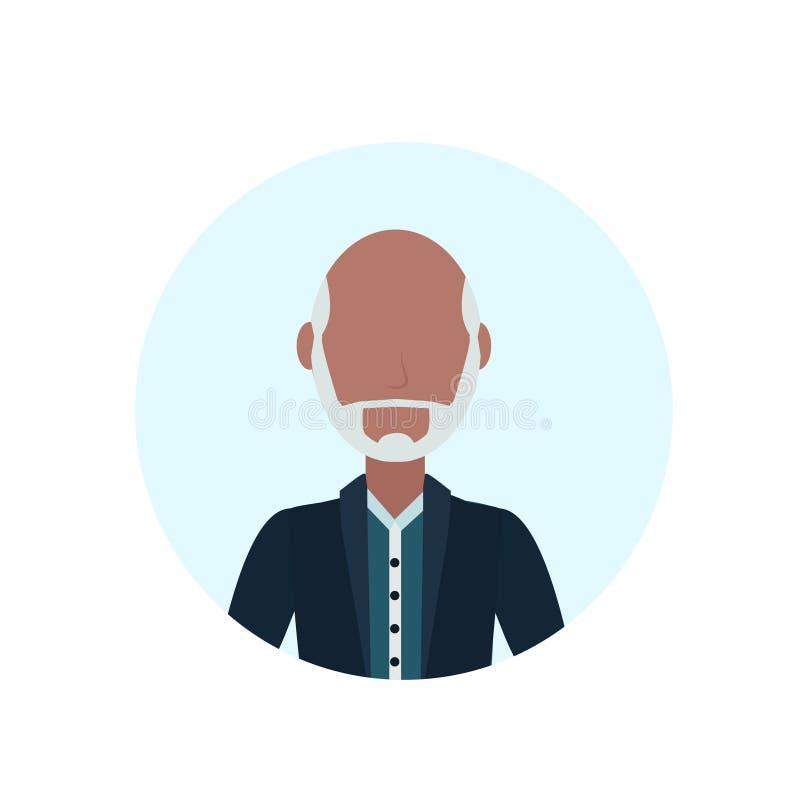 Asiatischer Bartschnurrbartavatara des alten Mannes lokalisierte gesichtslose männliche Zeichentrickfilm-Figur-Porträtebene lizenzfreie abbildung