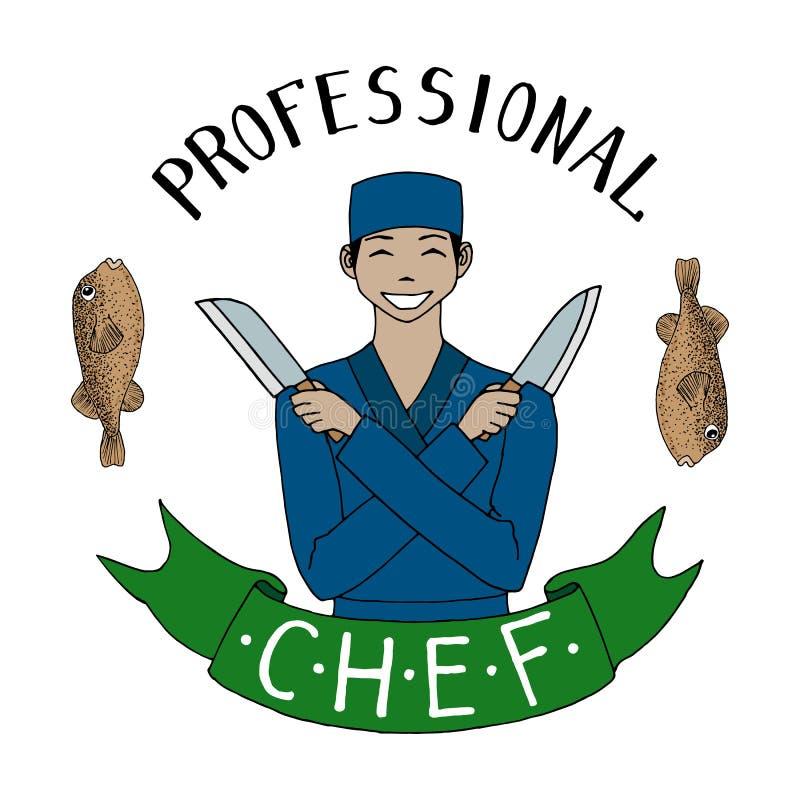 Asiatischer Chef mit Messern beruf Lächelnder Chef in der Uniform Orientalische Küche Hand gezeichnete vektorabbildung stock abbildung
