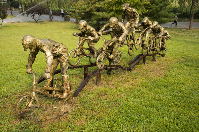 Asiatischer Chinese, Peking, internationaler Skulpturenpark, Skulptur, Fahrrad-Athleten lizenzfreie stockfotografie