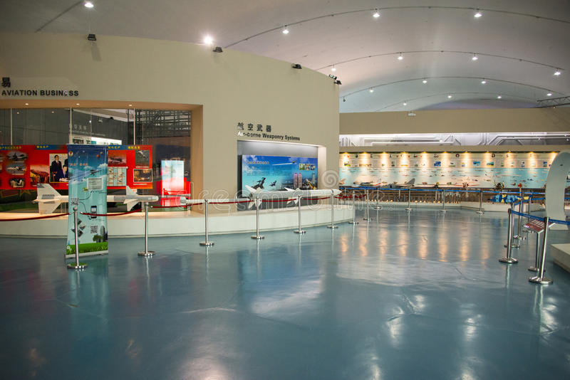 Asiatischer Chinese, Peking-Luftfahrt-Museum, Anzeige Hall lizenzfreies stockbild