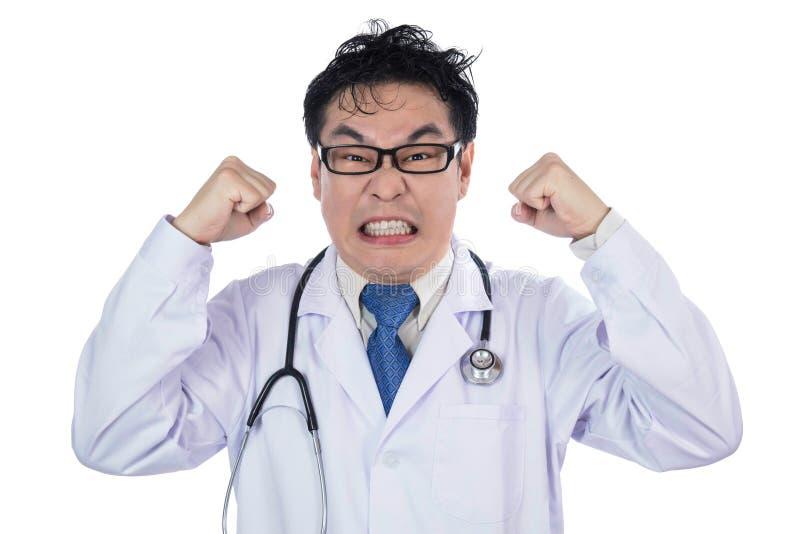 Asiatischer chinesischer männlicher frustrierter verrückter schreiender Doktor stockfotografie