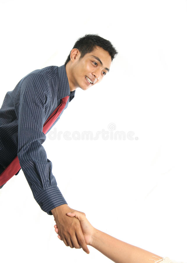 Asiatischer Geschäftsmann, der Hand rüttelt lizenzfreie stockbilder