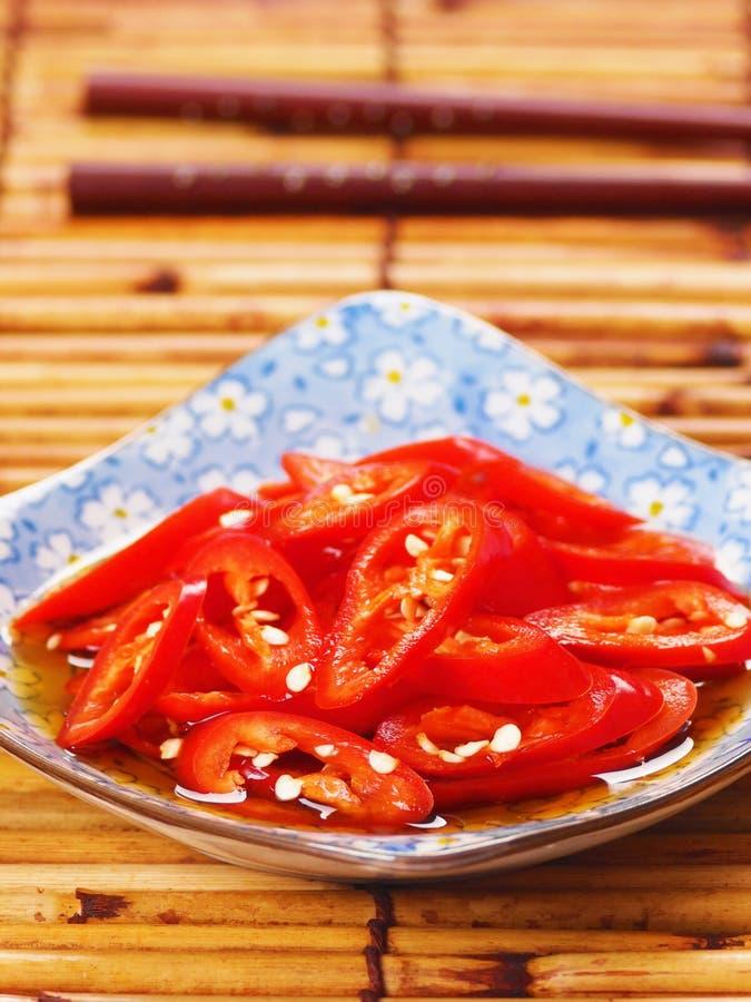 Asiatischer geschnittener roter Paprika stockfoto