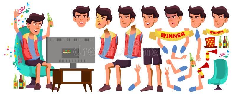Asiatischer jugendlich Jungen-Vektor Animations-Schaffungs-Satz Gesichts-Gefühle, Gesten Freundlich, Beifall belebt Für Darstellu lizenzfreie abbildung