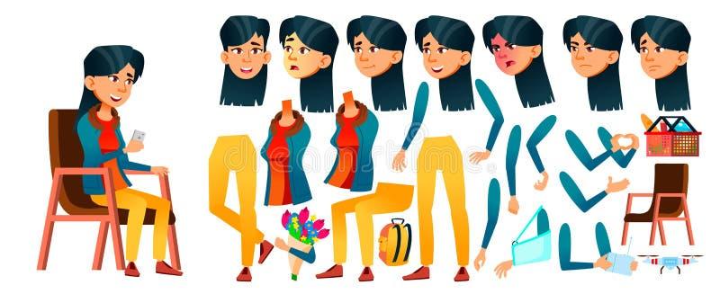 Asiatischer jugendlich Mädchen-Vektor Animations-Schaffungs-Satz Gesichts-Gefühle, Gesten Positive Person belebt Für Netz Broschü stock abbildung