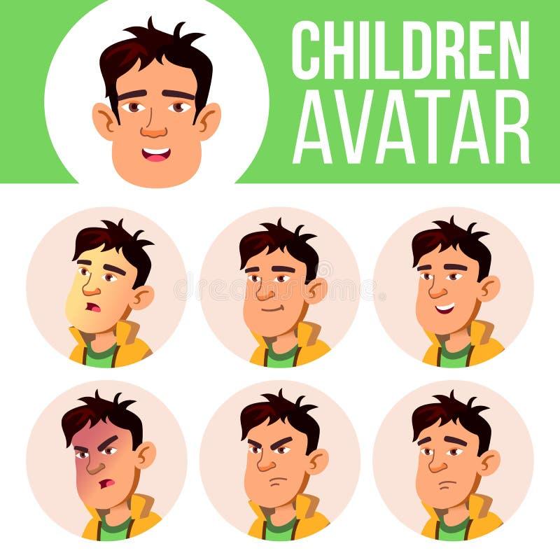 Asiatischer Jungen-Avatara-Satz-Kindervektor Highschool Stellen Sie Gefühle gegenüber Flach, Porträt Jugend, kaukasisch Karikatur stock abbildung
