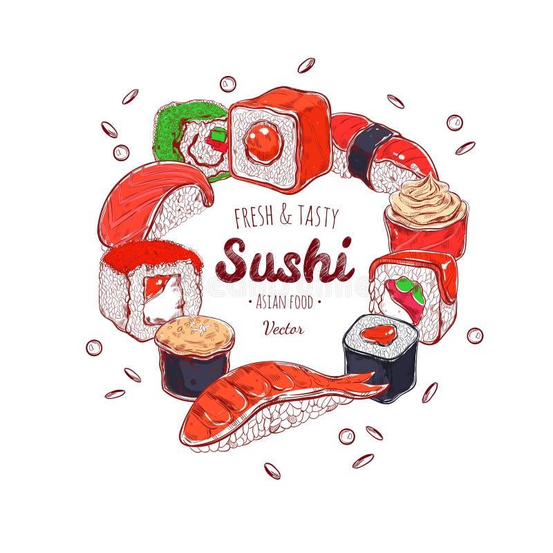 Asiatischer Lebensmittelrahmen Gezeichnete farbige Illustration des Vektors Hand Sushi japan vektor abbildung
