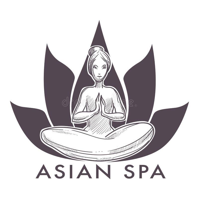 Asiatischer lokalisierte Ikonenfrau des Badekurortes Salon in der Lotosyogahaltung stock abbildung