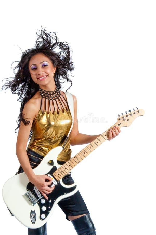 Asiatischer Mädchengitarrist stockbilder