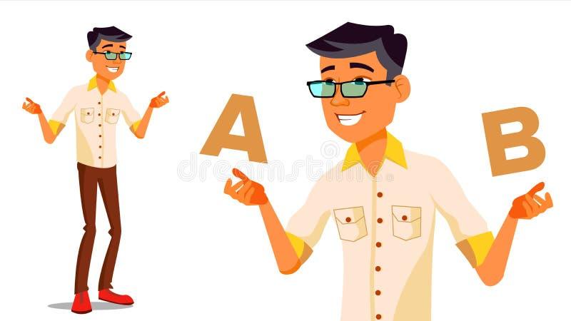 Asiatischer Mann, der A mit b-Vektor vergleicht Gute Idee Tragen einer Balance Blogger-Bericht Vergleichen Sie und wählen Sie Lok vektor abbildung