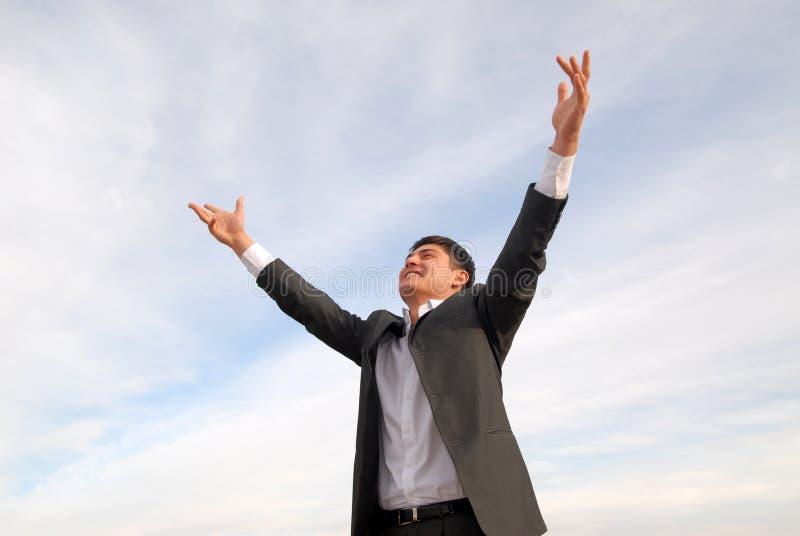 Asiatischer Mann glücklich stockfotografie