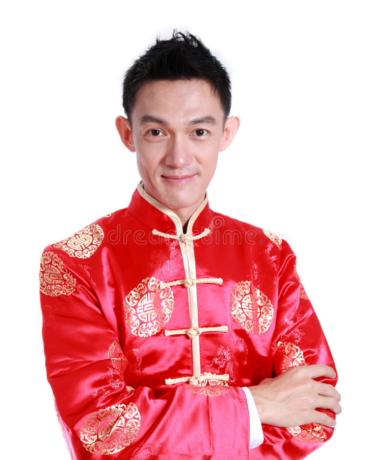 Asiatischer Mann ist Lächeln im chinesischen Neujahr, auf weißem Hintergrund lizenzfreies stockbild