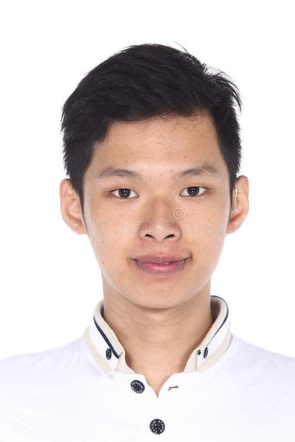 Asiatischer Mann vor bilden Frisur kein überarbeiten Sie, frisches Gesicht stockbilder