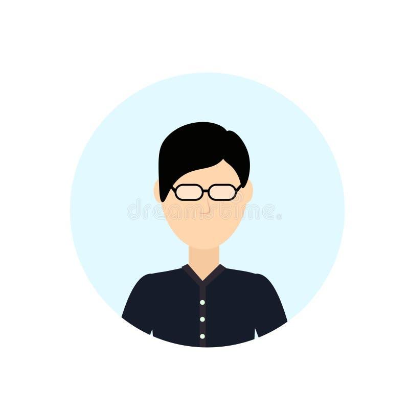 Asiatischer Mannavatara lokalisierte gesichtslose männliche Zeichentrickfilm-Figur-Porträtebene lizenzfreie abbildung
