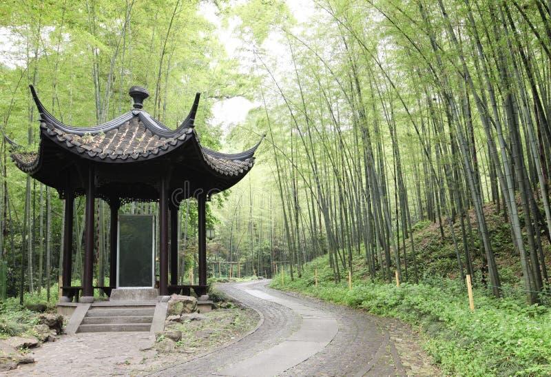 Asiatischer Pavillion im Bambuswald lizenzfreie stockfotos