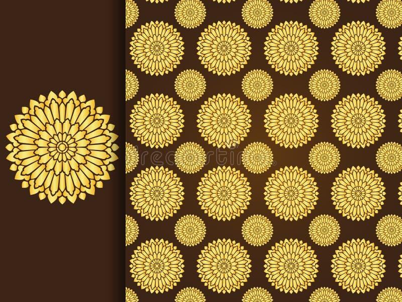 Asiatischer traditionelle Kunst Design-Vektor, thailändischer traditioneller Hintergrund (Lai Thai-Muster) stock abbildung