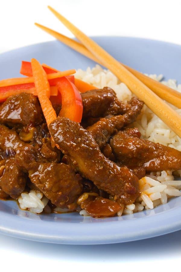 Asiatisches ArtSchweinefleisch mit Reis stockfoto