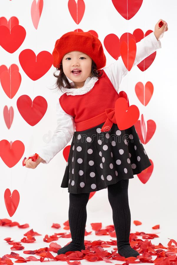 Asiatisches Baby glücklicher Valentinsgruß ` s Tag lizenzfreie stockfotos
