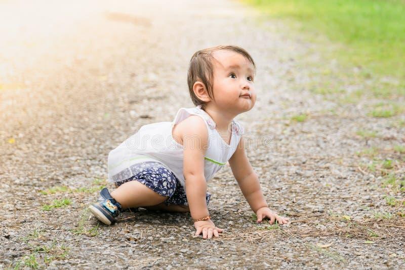 Asiatisches Babyschleichen herum im Park ist normales Teil child& x27; s-Entwicklung mit warmem Filter lizenzfreie stockfotografie