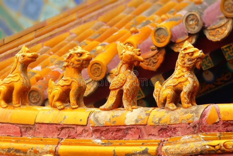 Asiatisches Dach in der Verbotenen Stadt, Peking, China stockfotografie