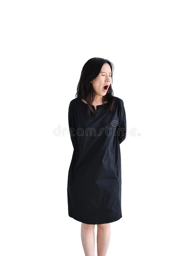 Asiatisches Geschäftsfraugähnen lokalisiert auf weißem Hintergrund, clipp lizenzfreie stockfotos