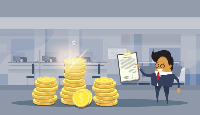 Asiatisches Geschäftsmann-Zeichen-prägt das erfolgreiche Vertrags-Abkommen, das über Stapeln des Dollars steht, Finanzerfolgs-Kon vektor abbildung