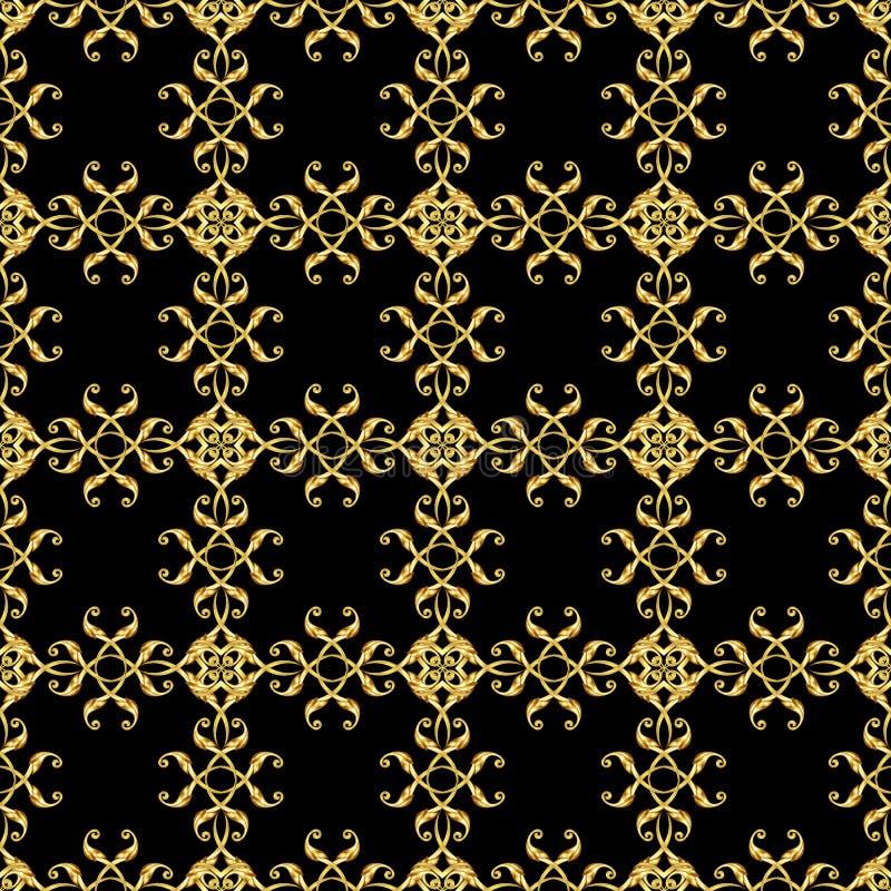 Asiatisches goldenes Muster auf Schwarzem lizenzfreie abbildung