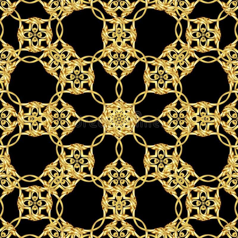 Asiatisches goldenes Muster auf Schwarzem stock abbildung