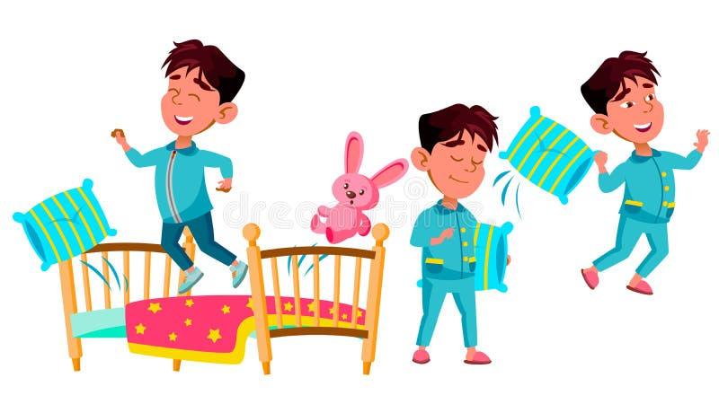 Asiatisches Jungen-Kindergarten-Kind wirft gesetzten Vektor auf vortraining Schlaf, Schlafzimmer Kissen, Spielzeug Junge positive vektor abbildung