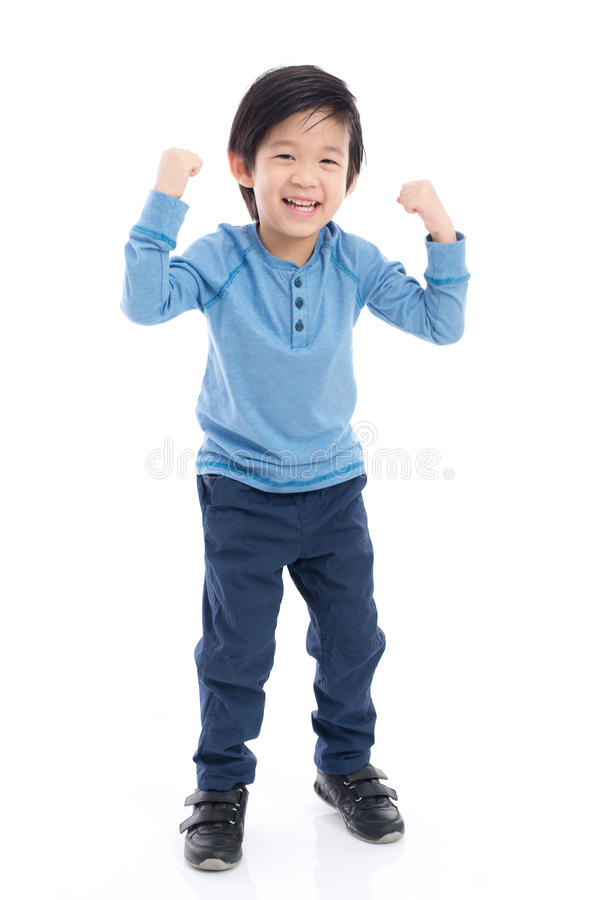 Asiatisches Kind, das Sieger Sig zeigt stockbilder