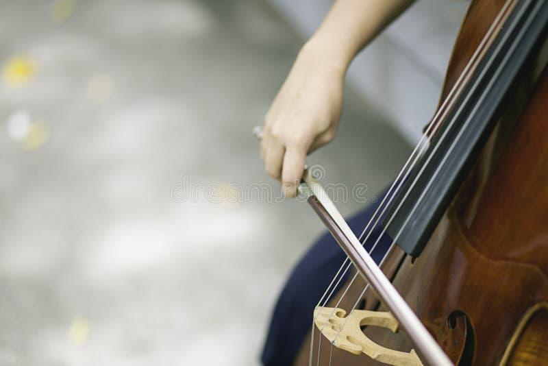 Asiatisches Mädchenspiel Cello im Garten stockbilder